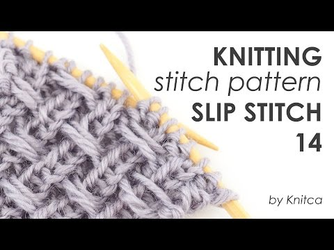 Knitting stitch pattern with woven texture - Slip Stitch 14 (with captions)