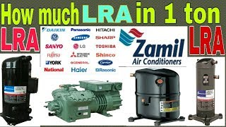 How much LRA in one ton compressor. How many LRA in one ton compressor.convert LRA to ton.