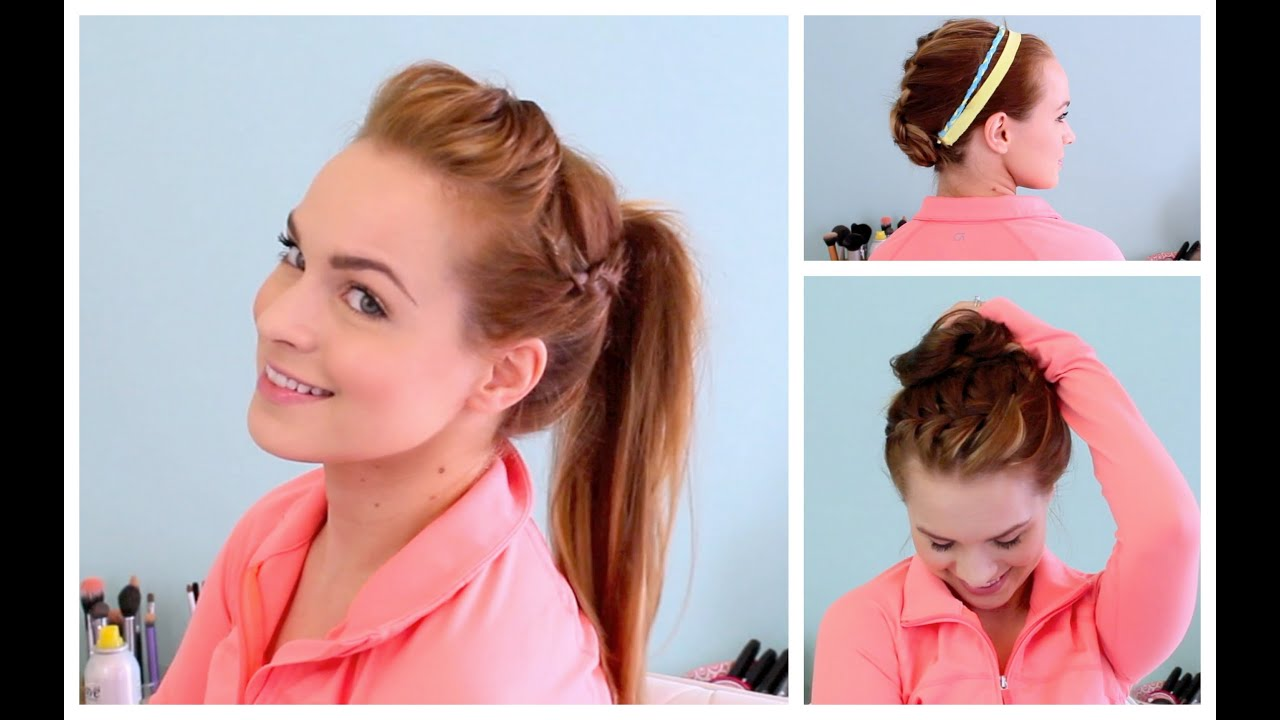 3 Workout Ready Hairstyles DIY Headband YouTube