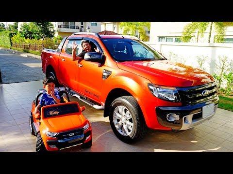 예준이 전동차와 아빠 자동차가 똑같아요! 포드 레인저 트럭 전동 자동차 장난감 놀이 슈퍼바이크 Kids ride on Power Wheels Ford Ranger