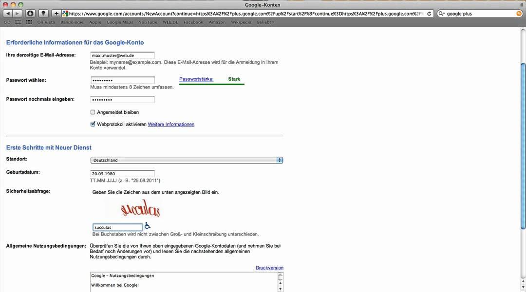 Google Plus Account ohne Google Account erstellen