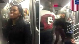 New York subway slap triggers massive brawl and four arrests