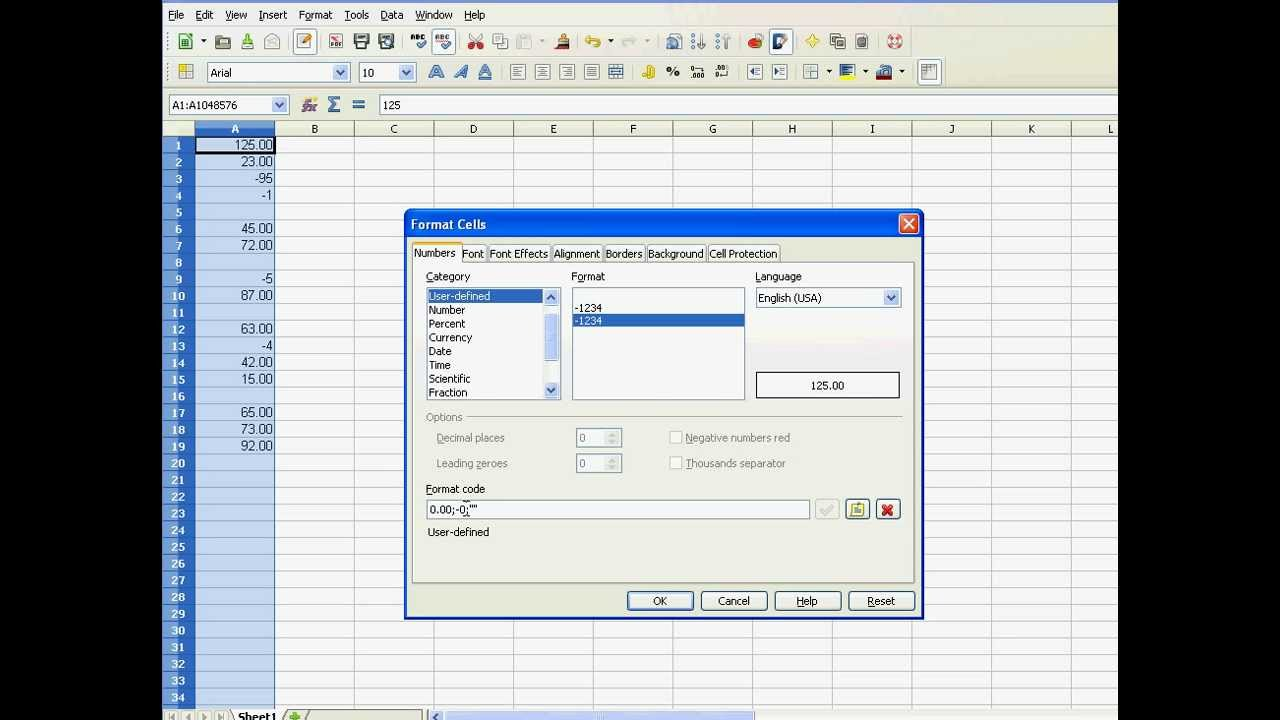 Hide Zero Values in Excel or Openoffice using user defined formats