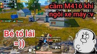 PUBG Mobile - Mẹo Cầm Súng Rifle, MG Khi Ngồi Xe Máy | Khi Bé Y Tá Làm Tài Xế :))