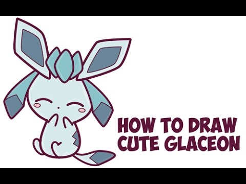 How To Draw Glaceon From Pokemon Cute Kawaii Chibi Easy Step By