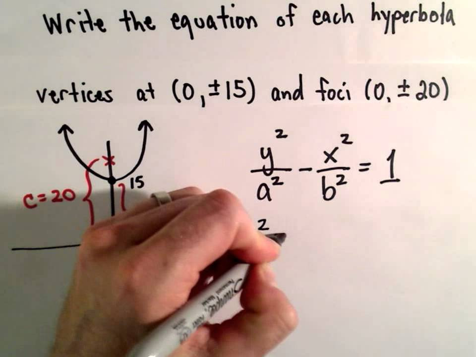 Conic Sections Hyperbola Find Equation Given Foci And Vertices