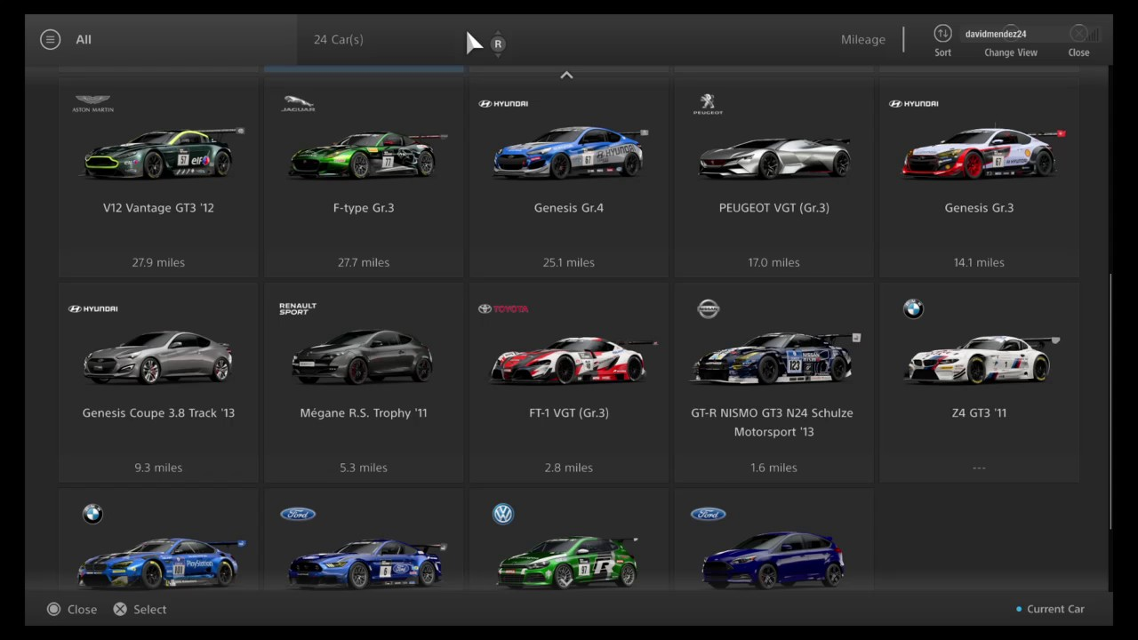 Gran Turismo Sport Closed Beta My Cars List