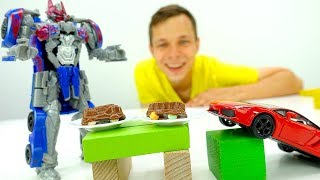 Видео с Трансформерами. Машинки из шоколада от Оптимуса и Фёдора.