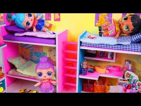 DIY Miniature Doll Bunk Bed ~ Dollhouse Bedroom for LOL