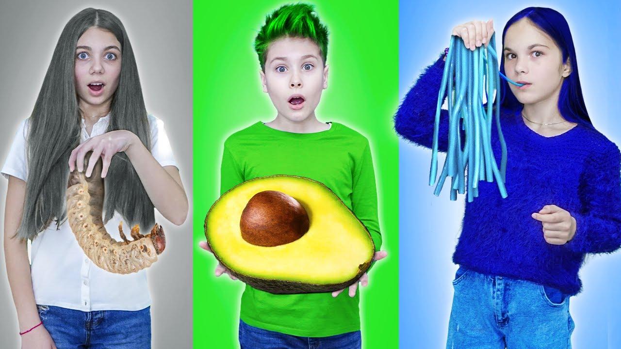 24 часа в ОДНОМ ЦВЕТЕ в школе зеленый синий белый Цветной челлендж Fast Sergey