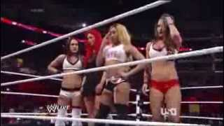 Cameron & The Bella Twins vs. AJ Lee, Alicia Fox & Aksana: Raw, Feb. 10, 2014