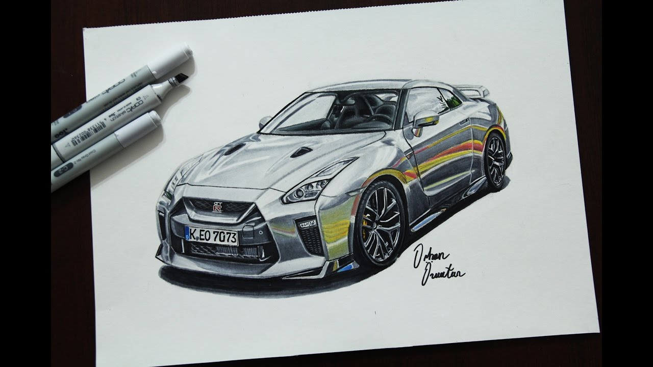 2017 Nissan Gtr R35 Realistic Car Drawing Youtube