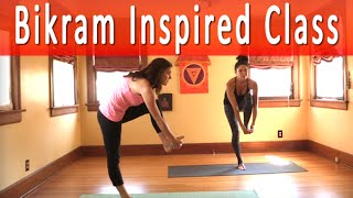 Bikram Yoga Inspired Yoga Class with Maggie Grove (1 hour)(https://youtu.be/mQnAvEbDNPg This 60 minute Bikram inspired yoga class taught by Los Angeles yoga teacher Maggie Grove includes the best of the classic ..., 2015-03-30T21:43:35.000Z)