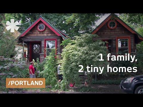 Salvaged tiny homestudios: tin can siding, paper bag wallpaper