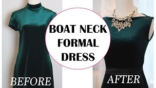 CONVERT MOCK NECK DRESS INTO A BOAT NECK DRESS