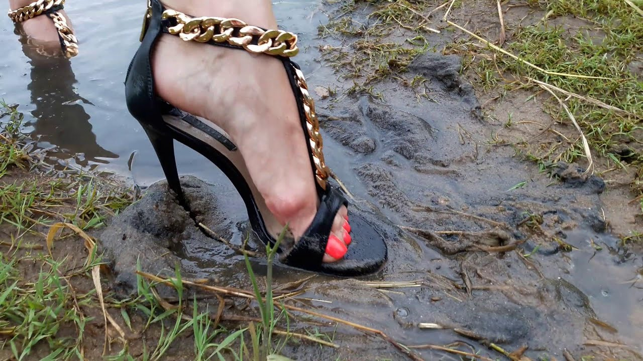 Wet and muddy high heels sandals