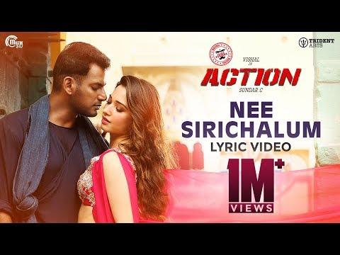 Action - Nee Sirichalum Lyric Video | Vishal, Tamannaah I Hiphop Tamizha I Sadhana Sargam | Sundar C