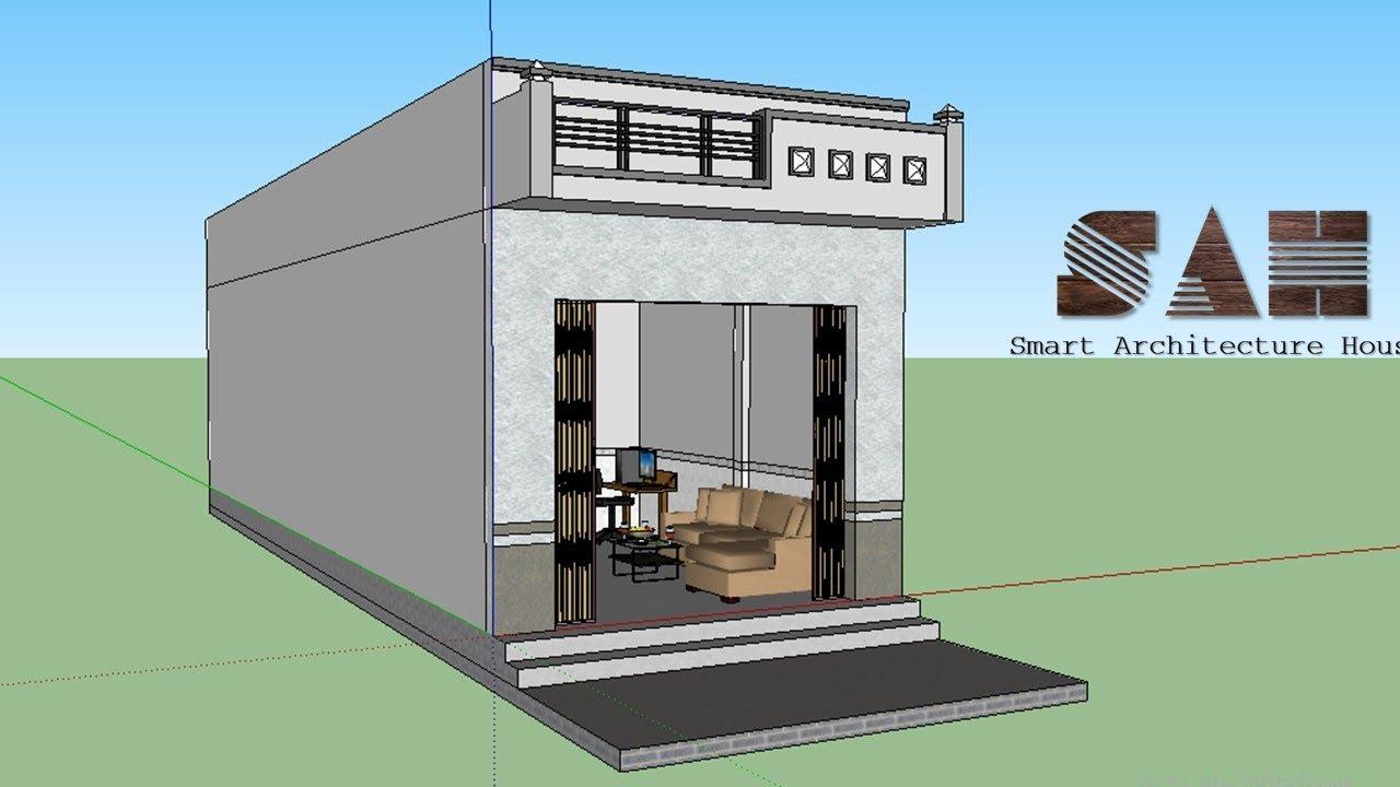 Nhà cấp 4 Đơn giản , Thiết kế nhà 3D – nhà cấp 4 nhỏ và rẻ tiền | #SAH