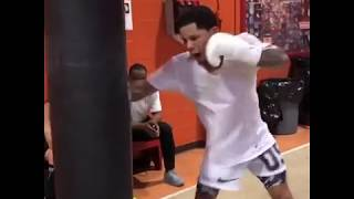 Gervonta Tank Davis Heavybag work: Getting Ready For Abner Mares