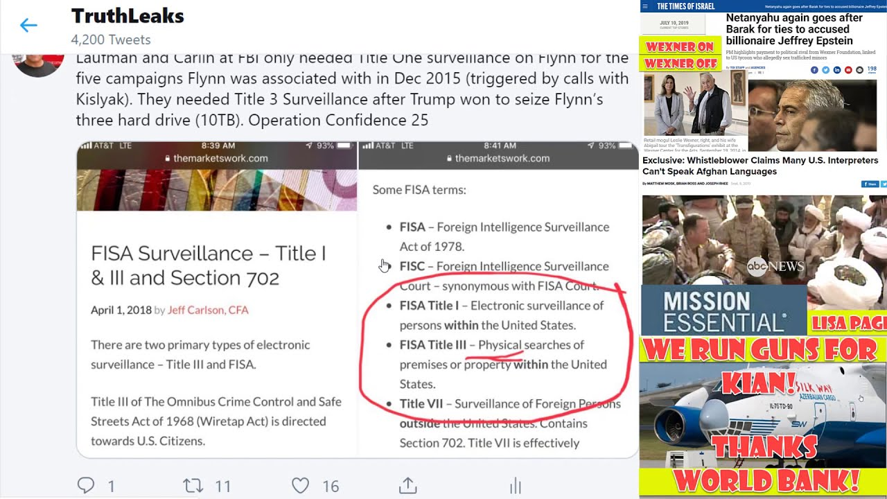 July 14th, 2019  Epstein's Russian Retreats, Deripaska Takes Over After Epstein Arrested. Flynn