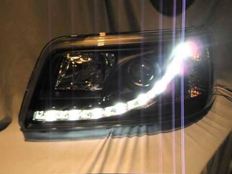 sw drl scheinwerfer vw t5 black mit led tagfahrlicht r87. Black Bedroom Furniture Sets. Home Design Ideas