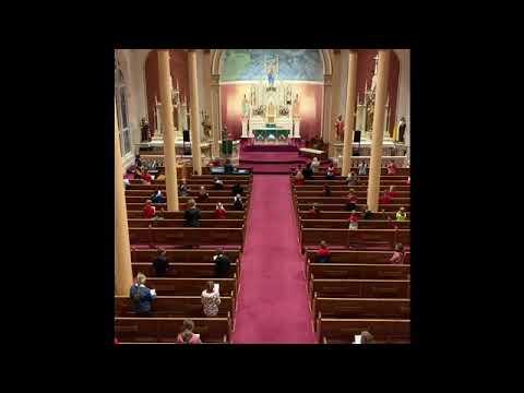 Bishop Cahill celebrates Mass with Shiner Catholic School elementary students