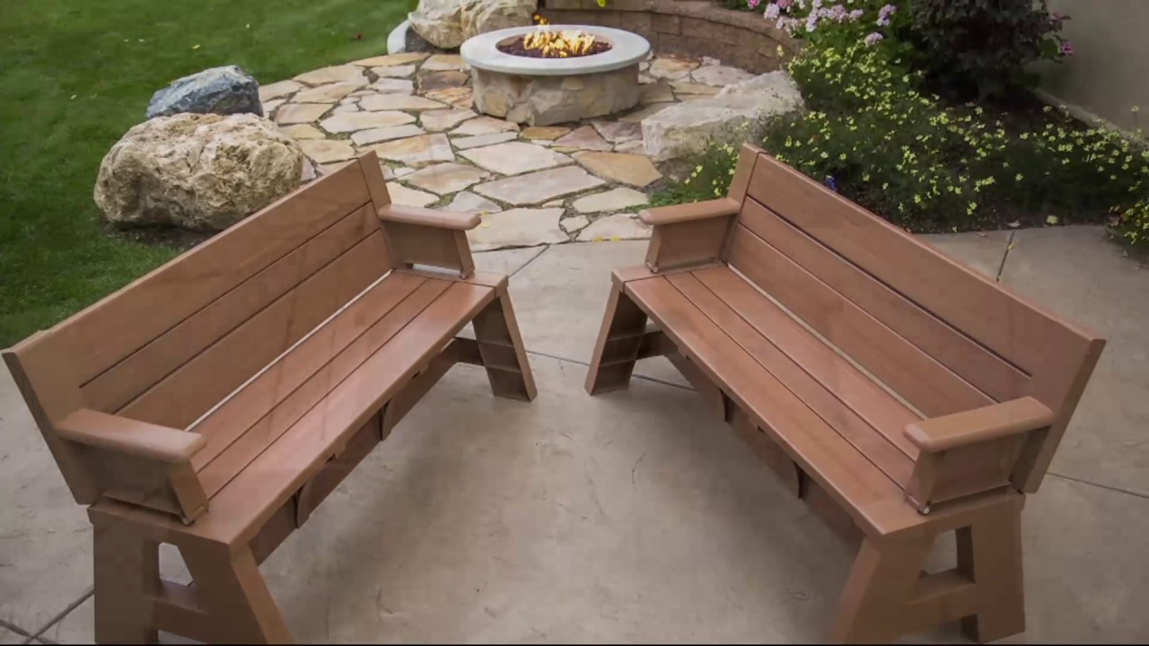 Convert A Bench Wood Series Outdoor 2 In 1 Bench To Table W 5 Year Lmw On Qvc Youtube