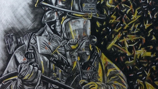 Drawing with Charcoal and Eraser | Firefighter-battling the Beast | Time lapse | Aota