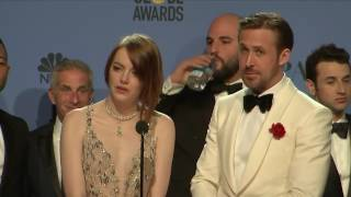 Golden Globes 2016 Backstage Interview with Ryan Gosling, Emma Stone FULL