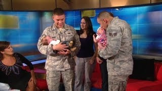 Watch: Soldiers meet their newborn babies
