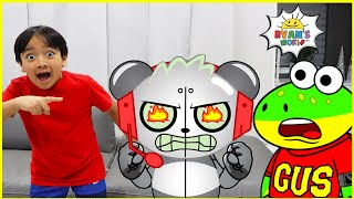 Ryan and Gus vs Robo Combo Spy Mission!!