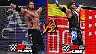 WWE 2K16 VS WWE 2K16 Mods - AJ Styles CAW VS PC Mod Comparison!