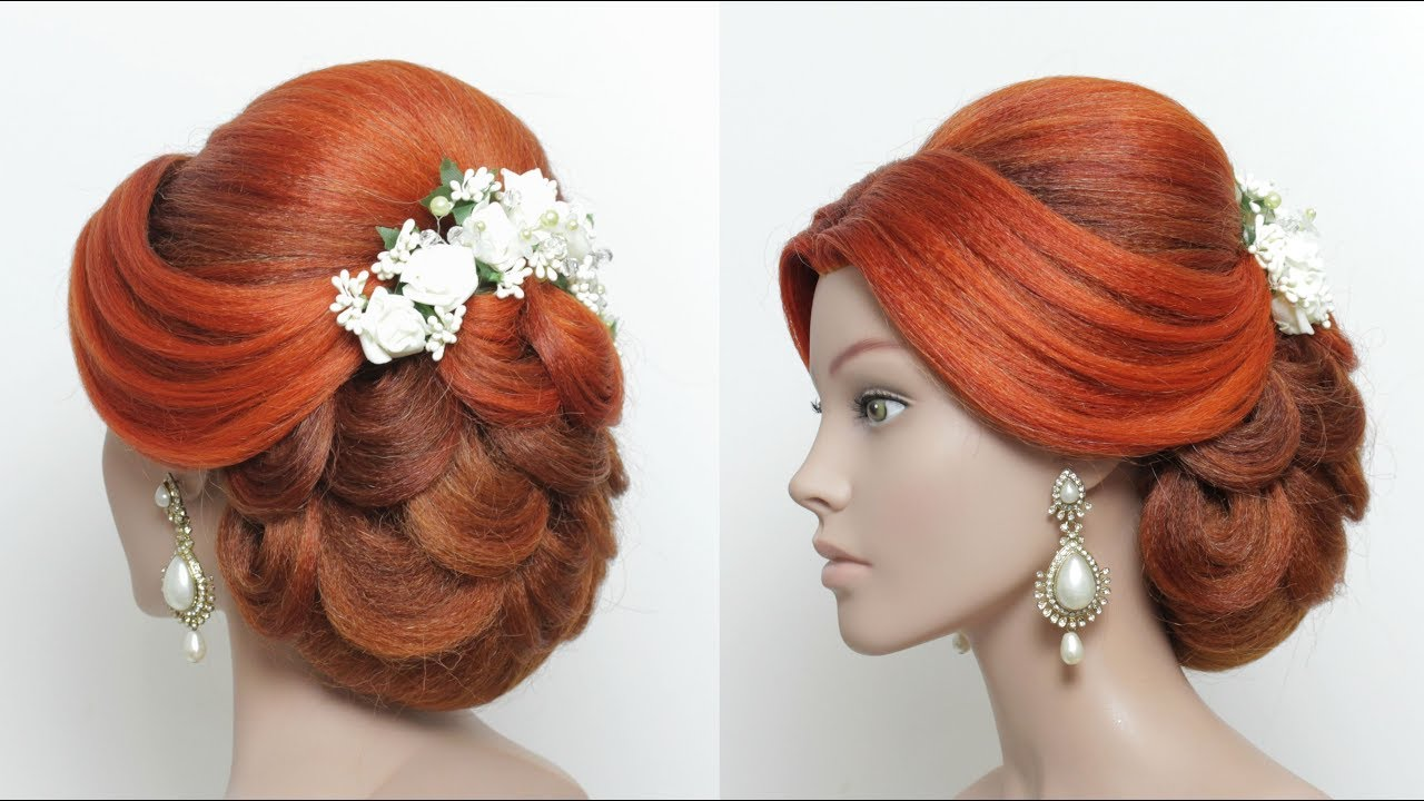 beautiful bridal hairstyle for long hair. wedding updo tutorial