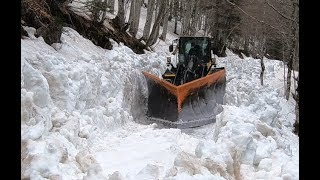 Plowing snow with Komatsu on forest road at the edge of the nationa...