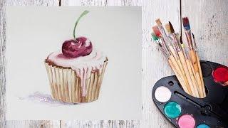 Как нарисовать пирожное акварелью! #Dari_Art(Сладости модно не только кушать) а еще и рисовать) В этом видео создадим красивое пирожное с вишенкой аквар..., 2015-11-14T15:38:26.000Z)