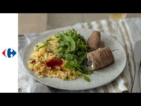 escalope-de-veau-farcie-au-chèvre-et-sauge,-pommes-de-terre-à-la-méditerranéenne