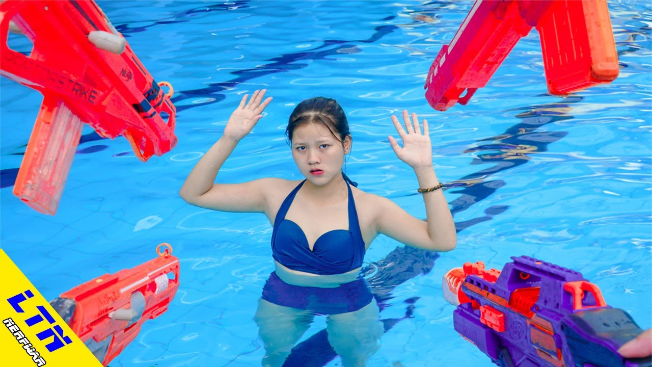 LTN Nerf War: Captain SEAL NERF Warrior Go Swimming Nerf Guns Fight Criminal Rescue Pretty Girl Pool