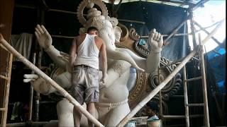 Large Ganpati made at Krunal Patil's workshop in Chinchpokhli