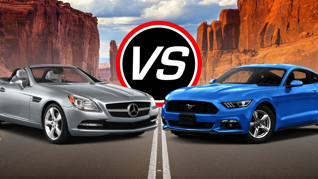 2016 mercedes benz slk350 vs ford mustang ecoboost i4 spec comparison