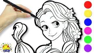 リカちゃんがディズニープリンセスをお絵描き❤︎ ラプンツェルとアリエルをぬりえで助け出そう!ぬりえメイクで可愛く変身♪ たまごMammy