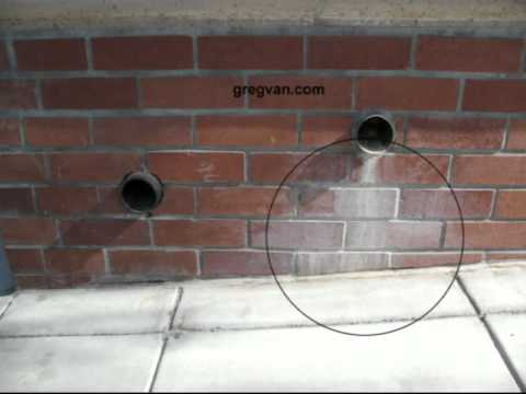 Poor Planter Drain Pipe Location Brick Wall Stains And