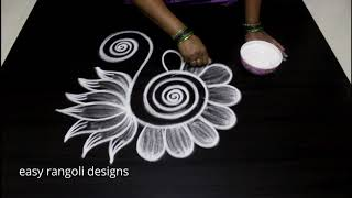Beautiful Peacock rangoli muggulu || Latest designs with out dots || Free hand kolam