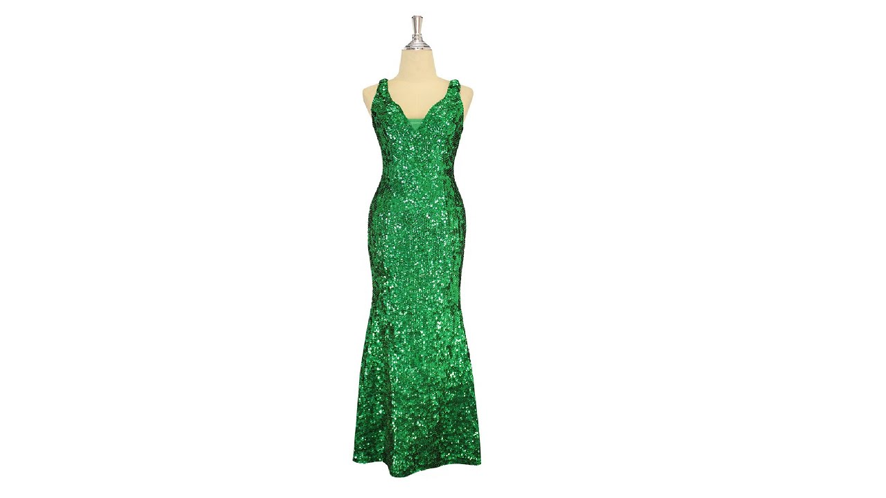 Long handmade sequin dress, in 8mm cupped metallic emerald green ...