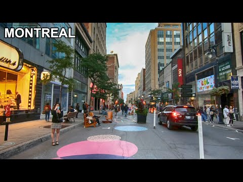 Walking Most Popular Street In Downtown Montreal, Quebec, Canada. September 2020