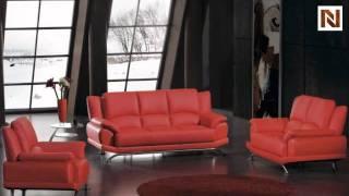 Modern Red Bonded Leather Sofa Set Vgbn2818-bl