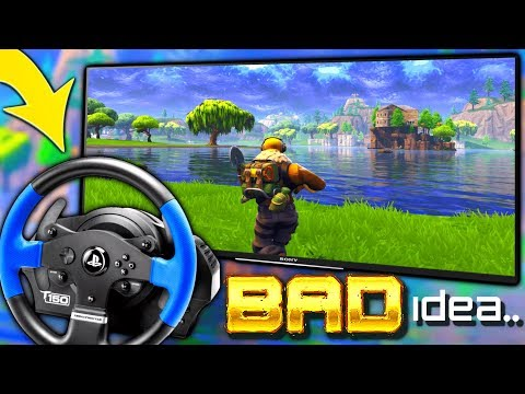 PLAYING FORTNITE WITH A STEERING WHEEL *EXPERIMENT*