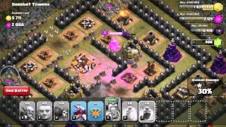 Clash of Clans Walkthrough of #50 Sherbet Towers using TH7 troops only