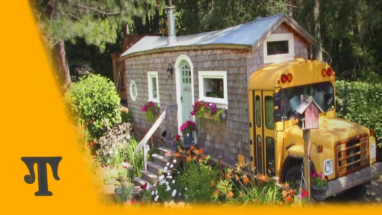 Tiny house bus tour part 1 youtube for Home video tours