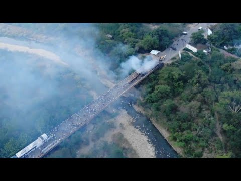 Drone images of burnt aid truck on Venezuela-Colombia border
