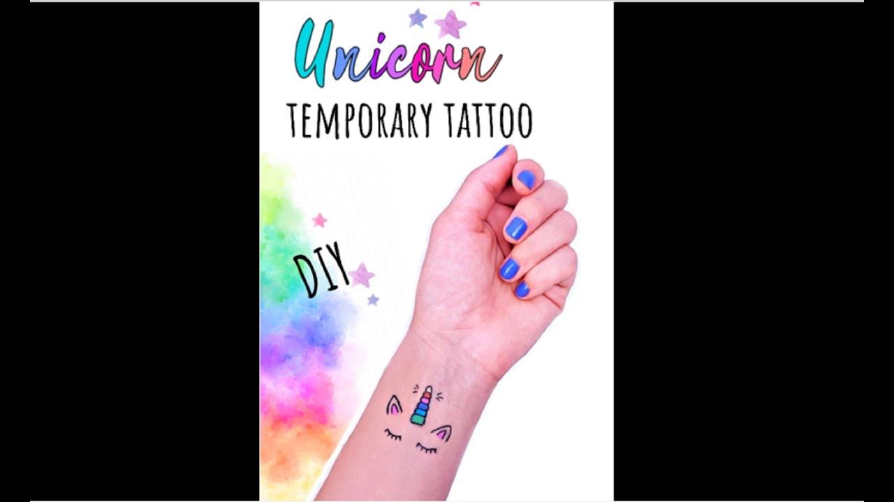 DIY UNICORN TEMPORARY TATTOO | Fake Tattoos That Look Real | Unicorn Crafts (1-minute video) #shorts